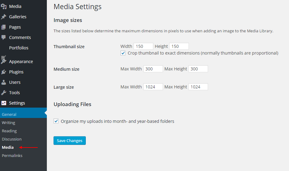 RE: From where can I change the media setting in my WordPress