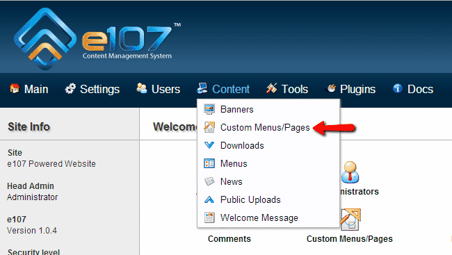 How to Create a e107 Menu?
