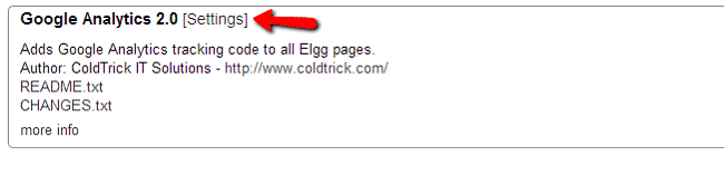 Google Analytics integration in Elgg