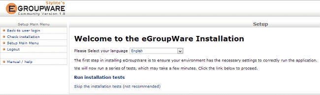 eGroupware manual installation