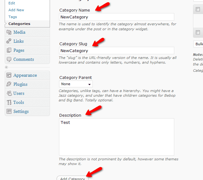 Categories Edit