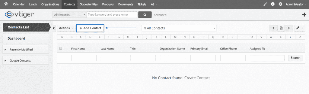 How to create contacts in vTiger CRM?