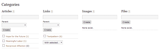 How to create a new categories in Textpattern?