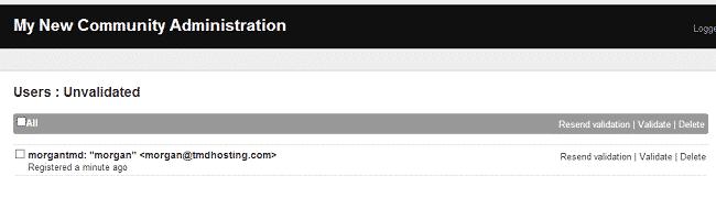 Elgg users validation