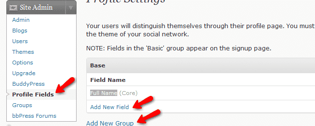 How to create profile fields and groups?