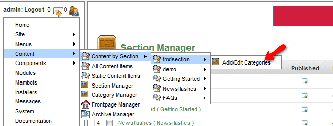 How to create sections, categories and content?