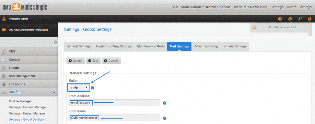 How to configure CMS Made Simple email settings?