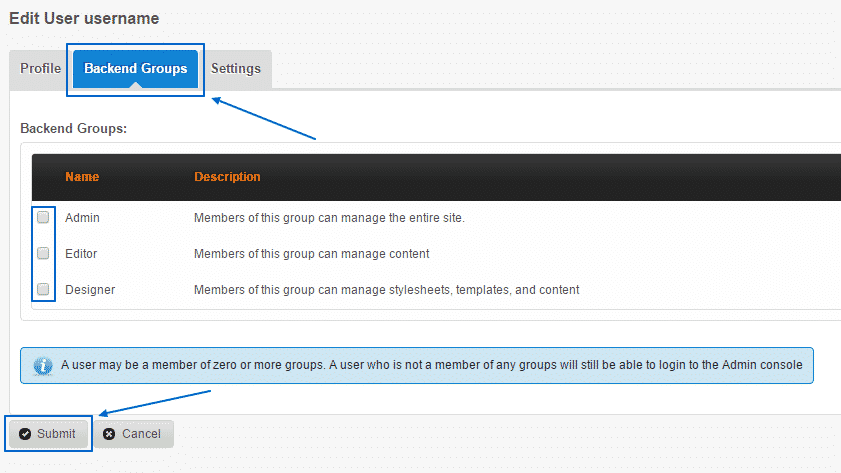 How to manage users and groups in CMS Made Simple?