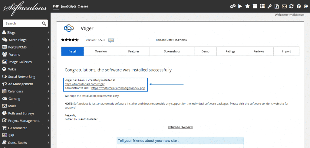 How to install vTiger automatically?