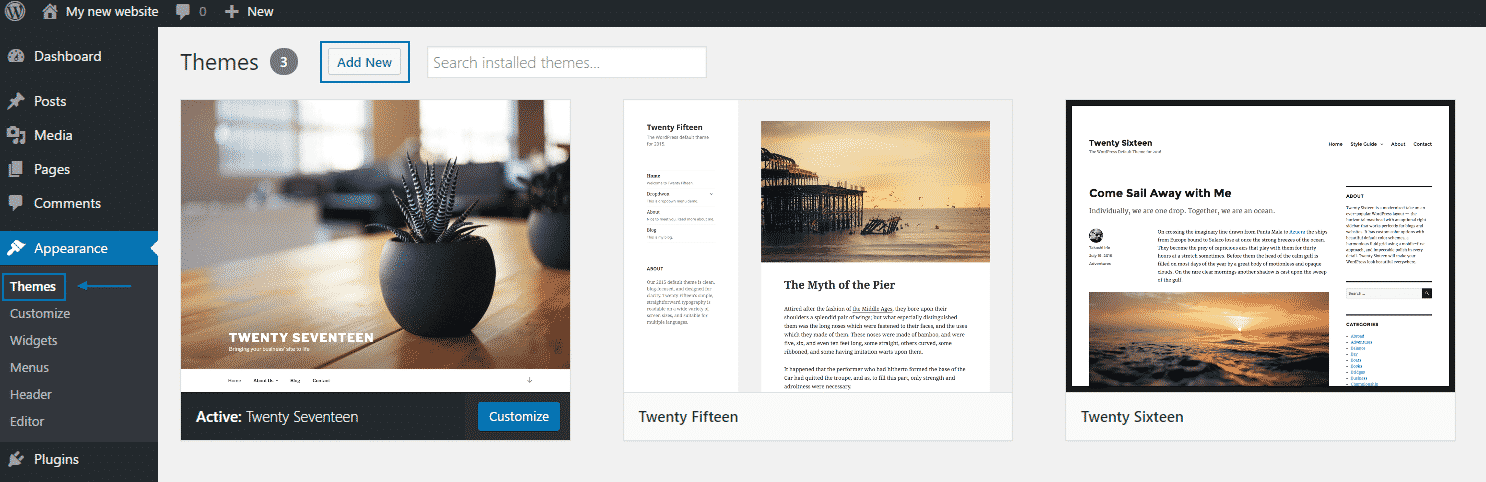 How to install a new theme in Wordpress?