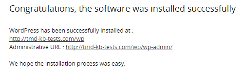 Completed Install Info