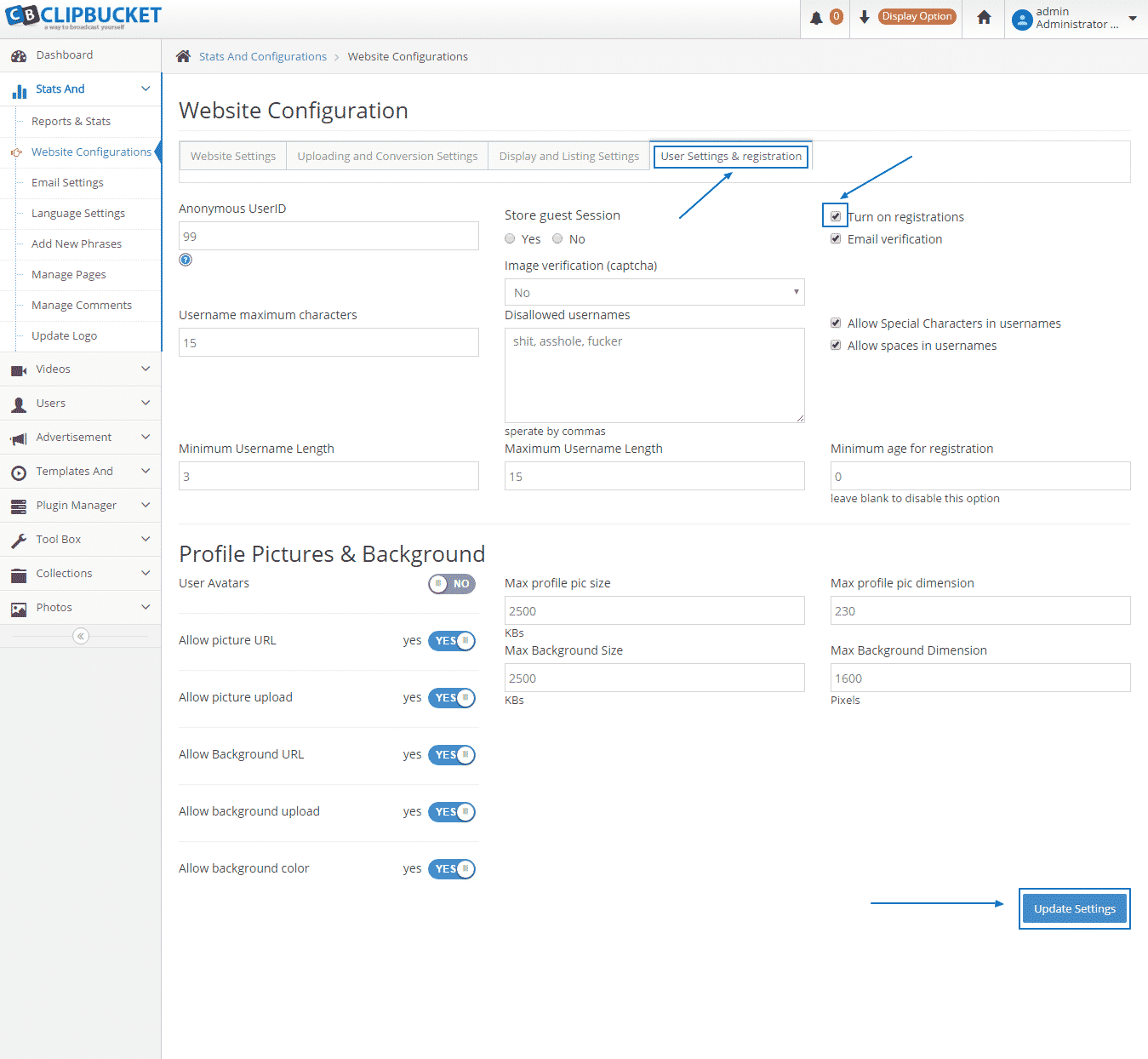 HOW TO MANAGE THE BASIC SETTINGS OF CLIPBUCKET?