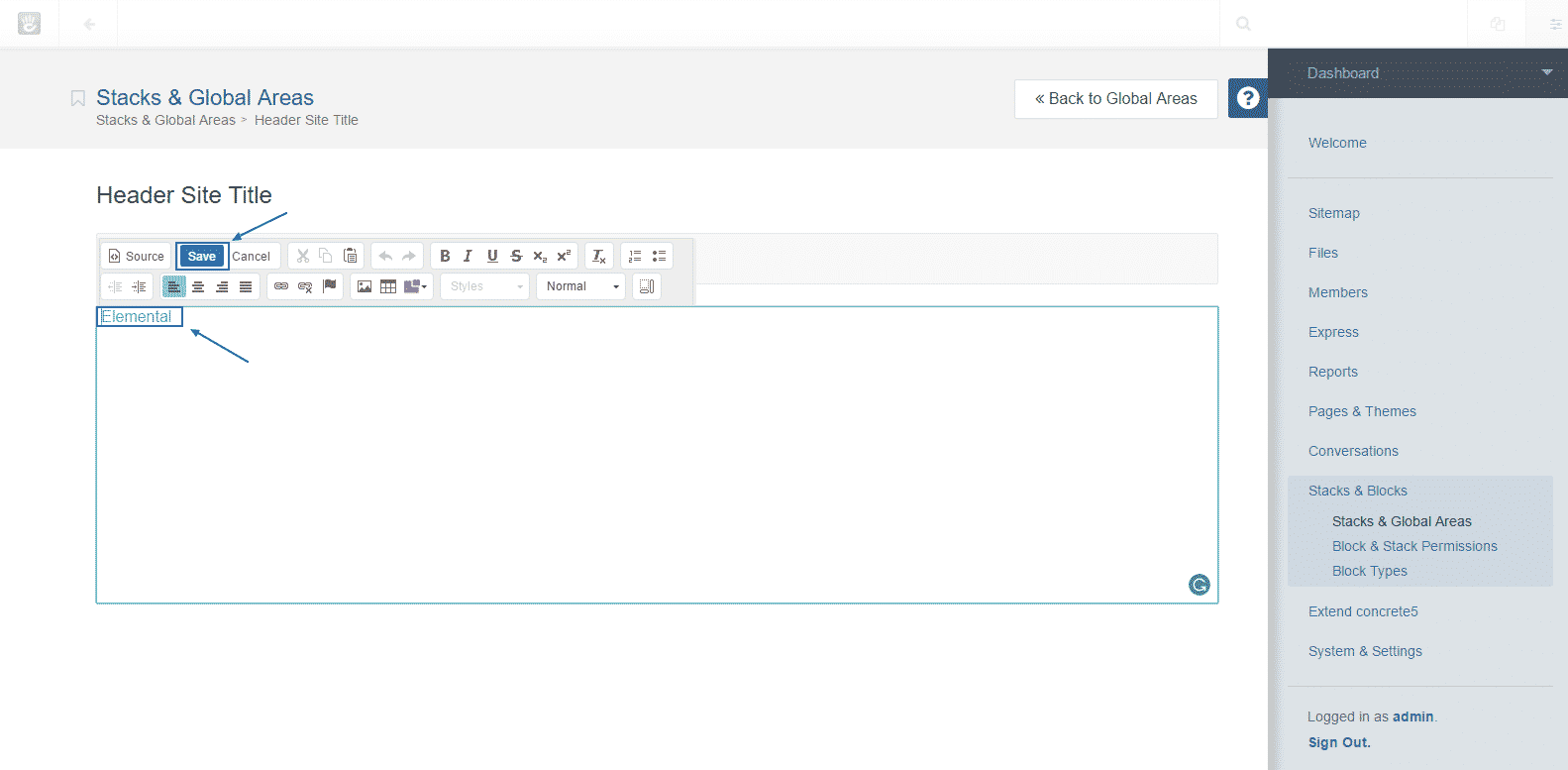 How to change the site name and enable full caching in Concrete5?
